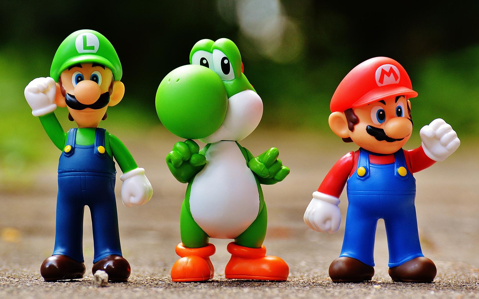 Personaggi Mario, Luigi e Yoschi di Super Mario